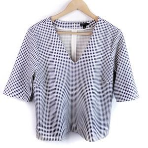 Ann Taylor Check Career Knit 1/2 Sleeve Top Size L